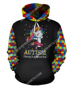 autism awareness dancing to a different beat unicorn all over printed hoodie 1