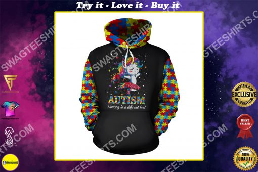 autism awareness dancing to a different beat unicorn all over printed shirt
