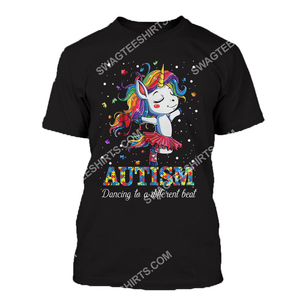 autism awareness dancing to a different beat unicorn all over printed tshirt 1