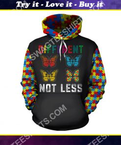 autism awareness different not less butterfly all over printed shirt