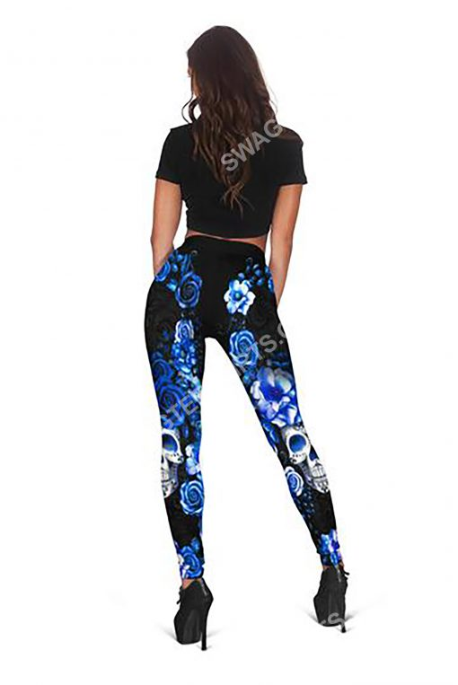 blue roses with skull all over printed legging 1(1)