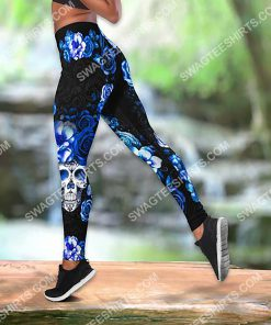 blue roses with skull all over printed legging 2(1)