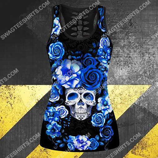 blue roses with skull all over printed tank top 1(1)