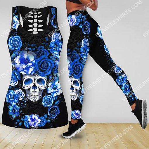 blue roses with skull all over printed tank top and legging 2(1)