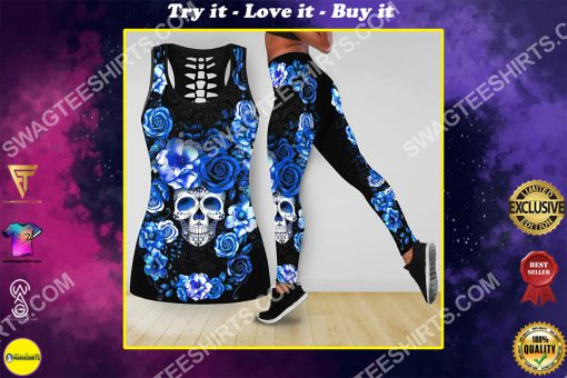 blue roses with skull all over printed tank top and legging