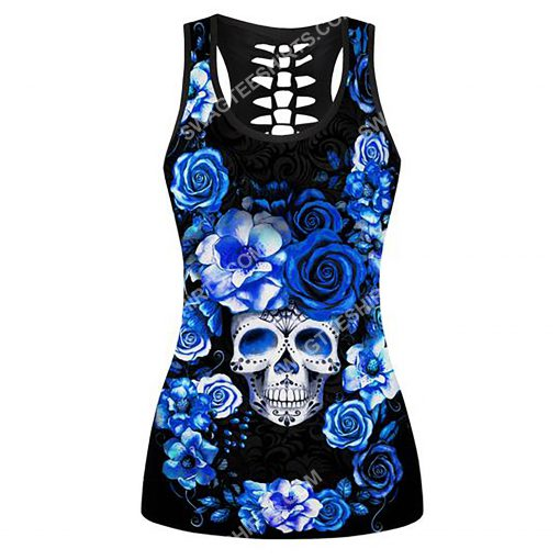 blue roses with skull all over printed tank top(1)