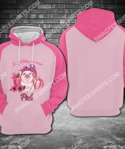 breast cancer awareness cute pig in october we wear pink all over printed hoodie 1 - Copy