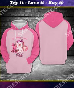 breast cancer awareness cute pig in october we wear pink all over printed shirt