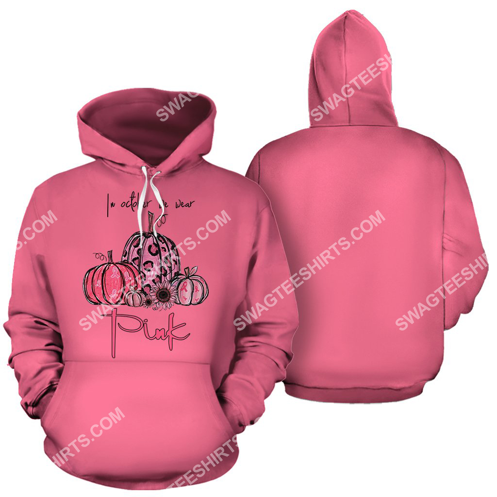breast cancer awareness in october we wear pink halloween all over printed hoodie 1 - Copy