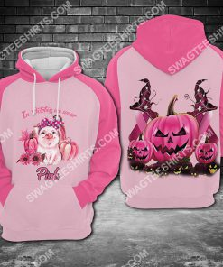 breast cancer awareness pig in october we wear pink halloween all over printed hoodie 1 - Copy