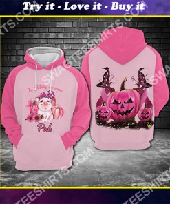 breast cancer awareness pig in october we wear pink halloween all over printed shirt