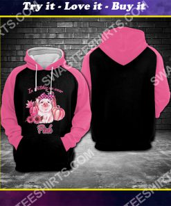breast cancer awareness piggy in october we wear pink all over printed shirt
