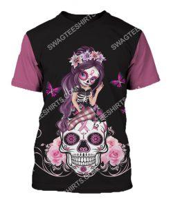 breast cancer awareness sugar skull fairy figurine all over printed tshirt 1