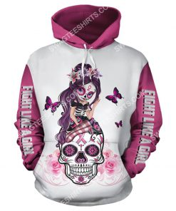 breast cancer awareness sugar skull fairy figurine fight like a girl all over printed hoodie 1 - Copy
