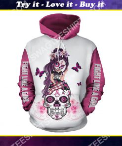 breast cancer awareness sugar skull fairy figurine fight like a girl all over printed shirt