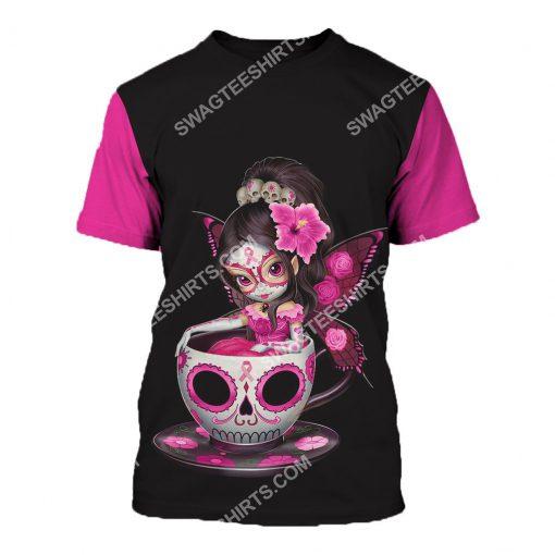 breast cancer awareness tea cup sugar skull fairy figurine all over printed tshirt 1