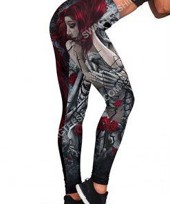 couple skull roses all over printed legging 3(1)