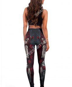 couple skull roses all over printed legging 5(1)