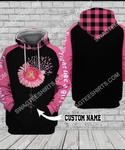 custom name breast cancer awareness daisy flower all over printed hoodie 1 - Copy