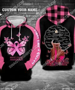 custom name breast cancer awareness fight like a queen all over printed hoodie 1 - Copy