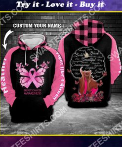custom name breast cancer awareness fight like a queen all over printed shirt