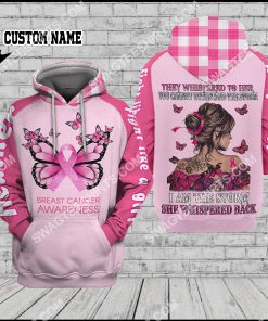 custom name butterfly fight like a girl breast cancer awareness all over printed hoodie 1 - Copy