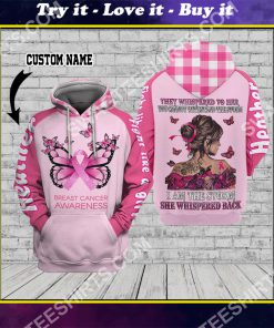custom name butterfly fight like a girl breast cancer awareness all over printed shirt