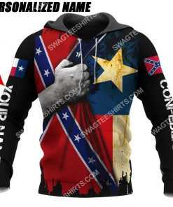 custom name confederate states of america texas flag all over printed hoodie 1