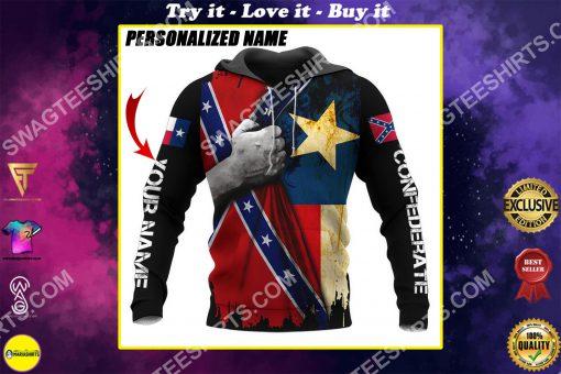 custom name confederate states of america texas flag all over printed shirt