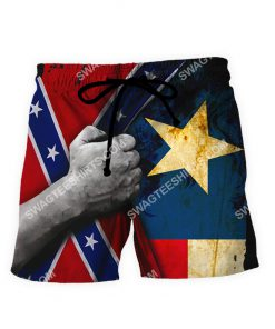 custom name confederate states of america texas flag all over printed shorts 1