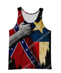 custom name confederate states of america texas flag all over printed tank top 1