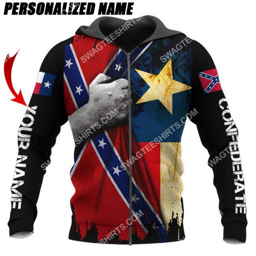 custom name confederate states of america texas flag all over printed zip hoodie 1