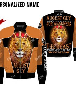 custom name lion i am an august guy never mistake my kindness for weakness all over printed bomber 1