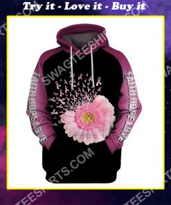 daisy flower breast cancer awareness all over printed shirt