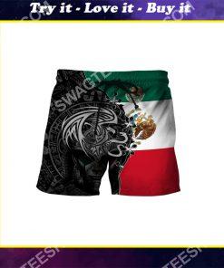flag of mexico all over printed hawaiian shorts