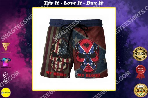flags of the confederate states of america my home my blood beach shorts