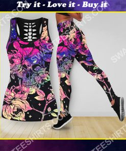 floral skull all over printed tank top and legging