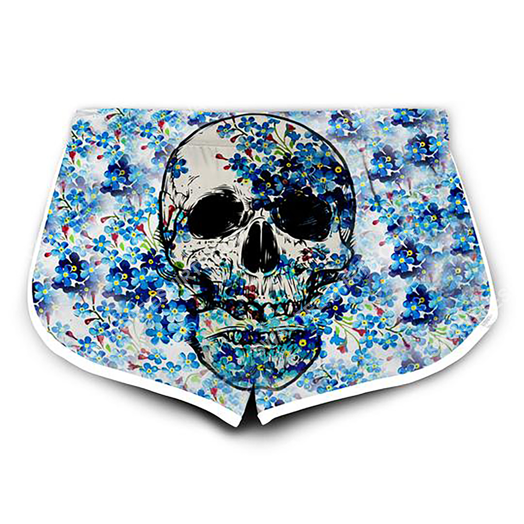 floral skull all over printed women's board shorts 2(2)