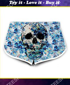 floral skull all over printed women's board shorts