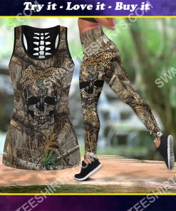 hunting girl skull all over printed tank top and legging