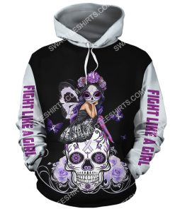 lung cancer sugar skull fairy figurine all over printed hoodie 1(1)