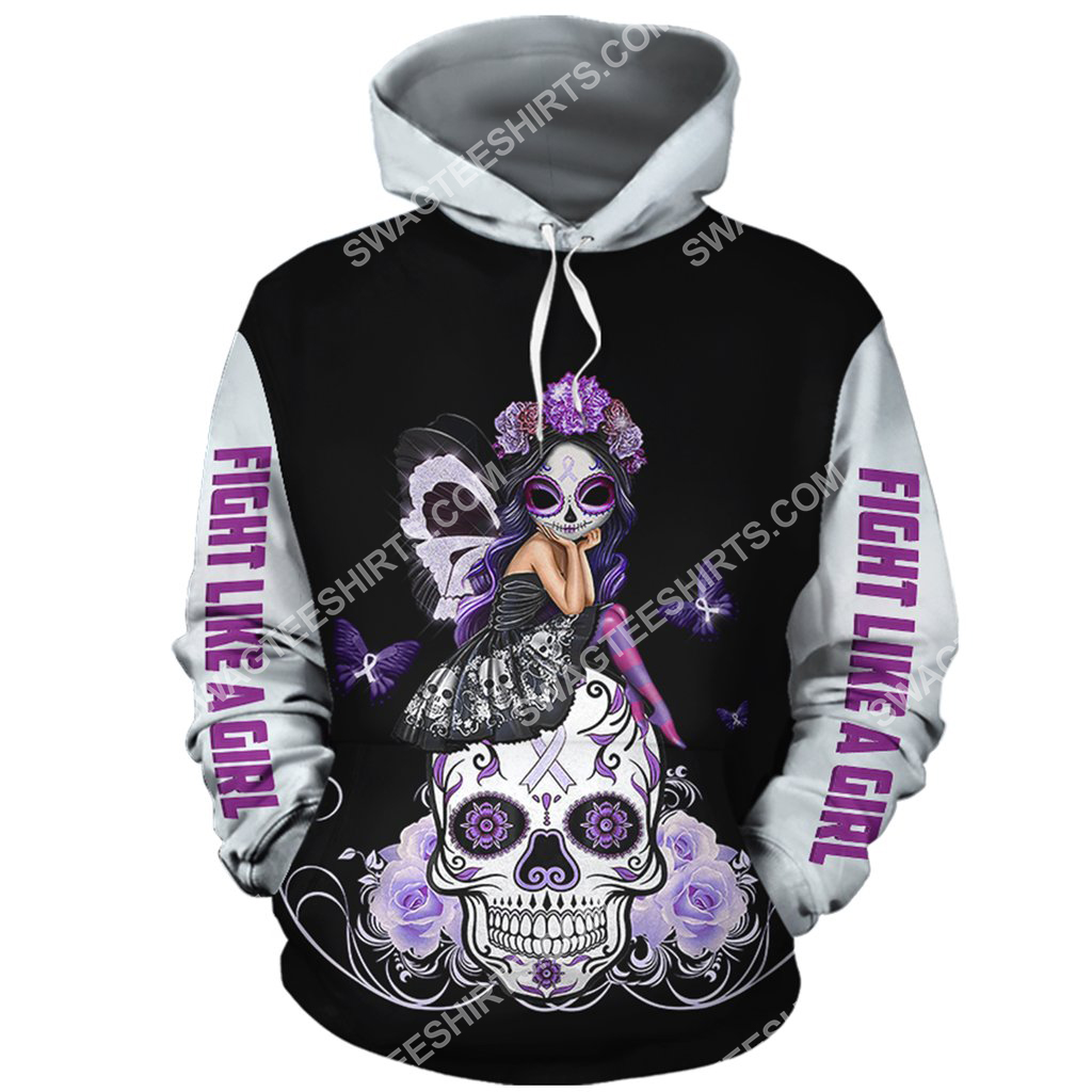 lung cancer sugar skull fairy figurine all over printed hoodie 1(1) - Copy
