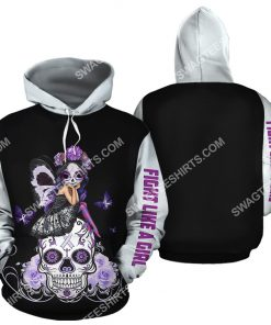 lung cancer sugar skull fairy figurine all over printed hoodie 2