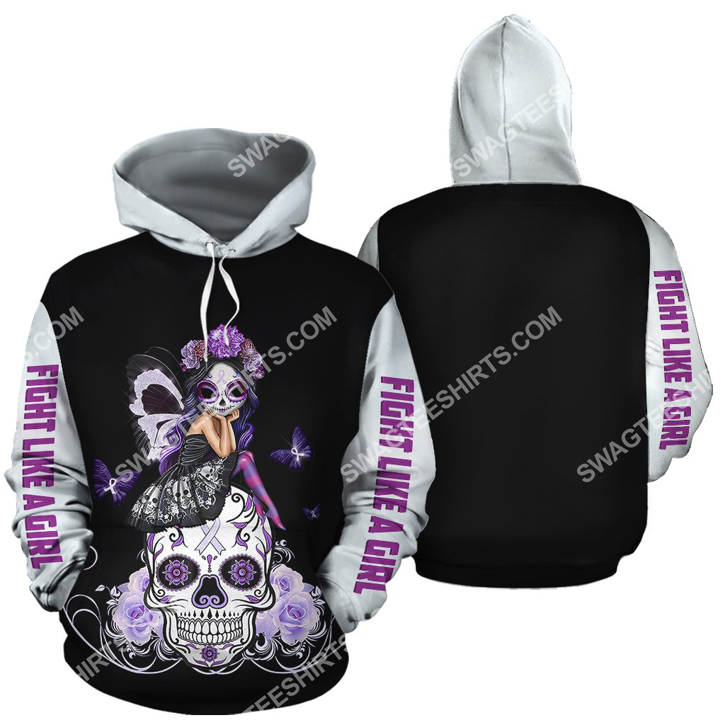lung cancer sugar skull fairy figurine all over printed hoodie 2 - Copy