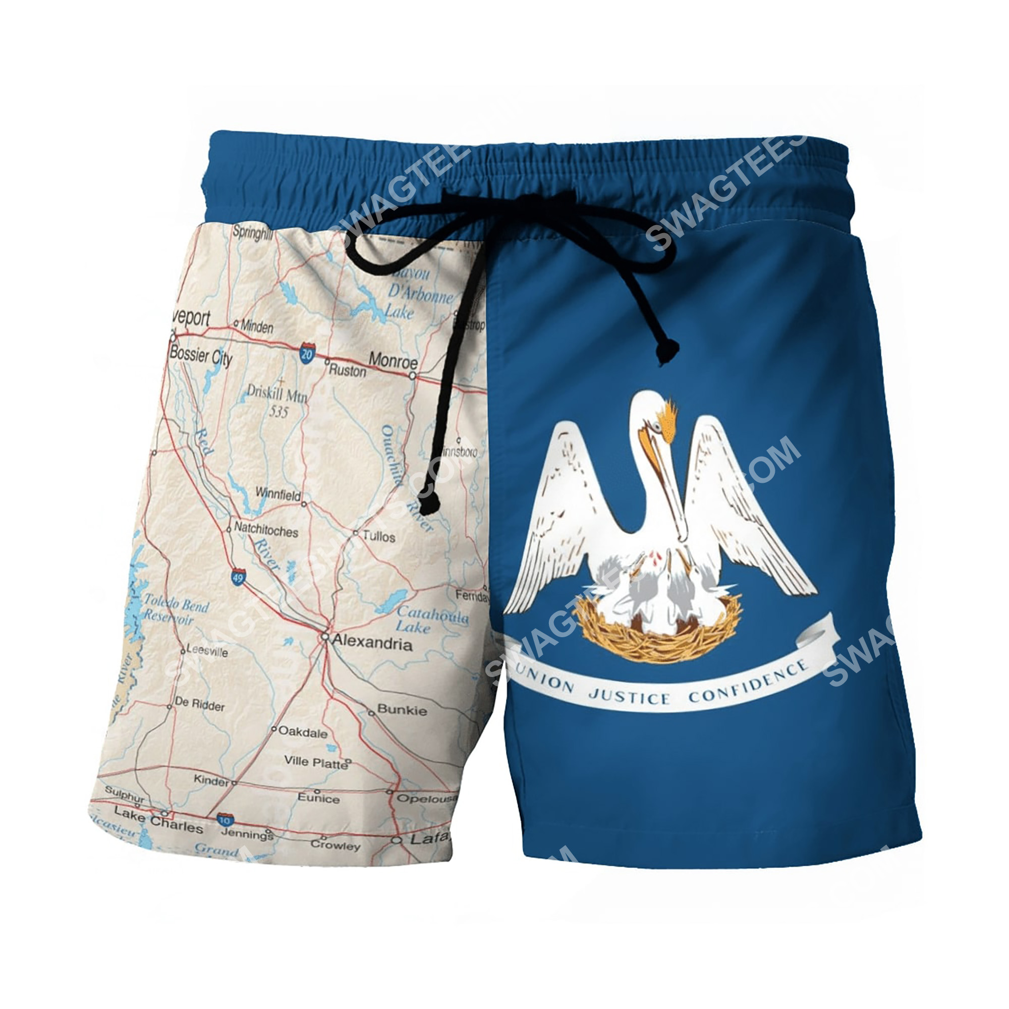 map of louisiana all over printed beach shorts 2(1)
