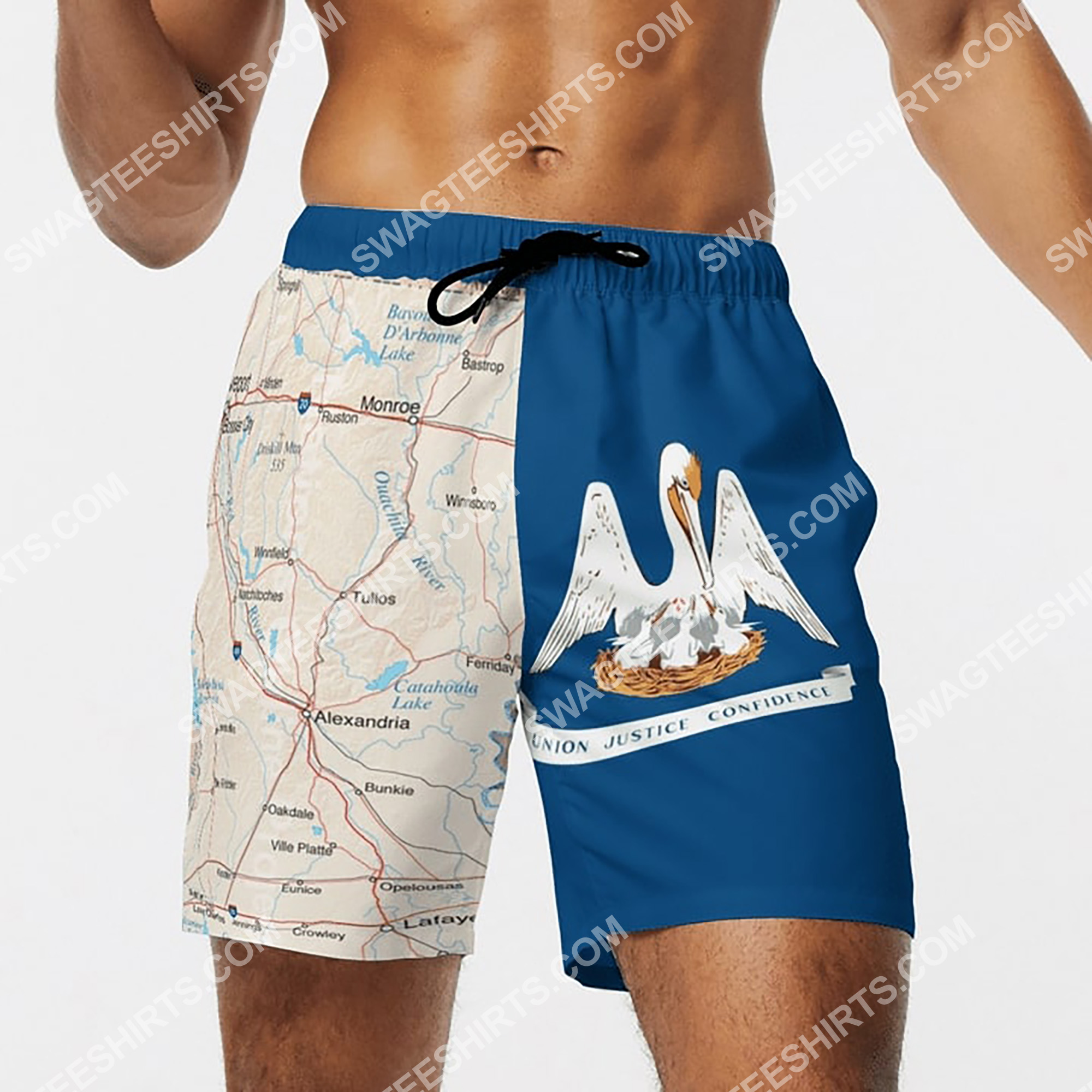 map of louisiana all over printed beach shorts 4(1)