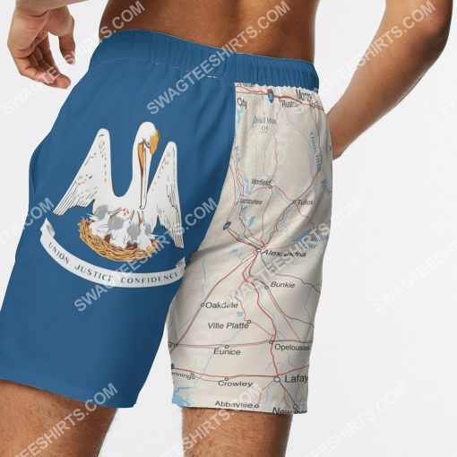 map of louisiana all over printed beach shorts 5(1)