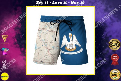 map of louisiana all over printed beach shorts