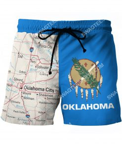 map of oklahoma all over printed beach shorts 2(1)