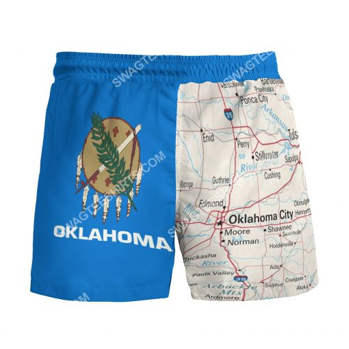 map of oklahoma all over printed beach shorts 3(1)